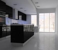 Na zdjęciu: Wizualizacja kuchni ciemno-fioletowej, ujęcie 1