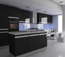 Na zdjęciu: Wizualizacja kuchni ciemno-fioletowej, ujęcie 2