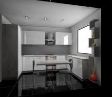 Na zdjęciu: Wizualizacja kuchni z białymi frontami