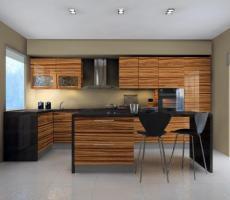 Na zdjęciu: Wizualizacja kuchni poziome ujecie szeroki kąt