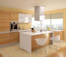 Na zdjęciu: Wizualizacja kuchni jasna pionowe ujęcie