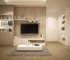 Widok salonu z telewizorem